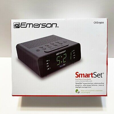 Emerson SmartSet Alarm Clock w/ AM/FM Radio, Dimmer, Sleep, LED Display CKS1900