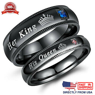 His Queen or Her King Couple's Matching Promise Ring Comfort Fit Wedding (Comfortable Fitting Wedding Bands)