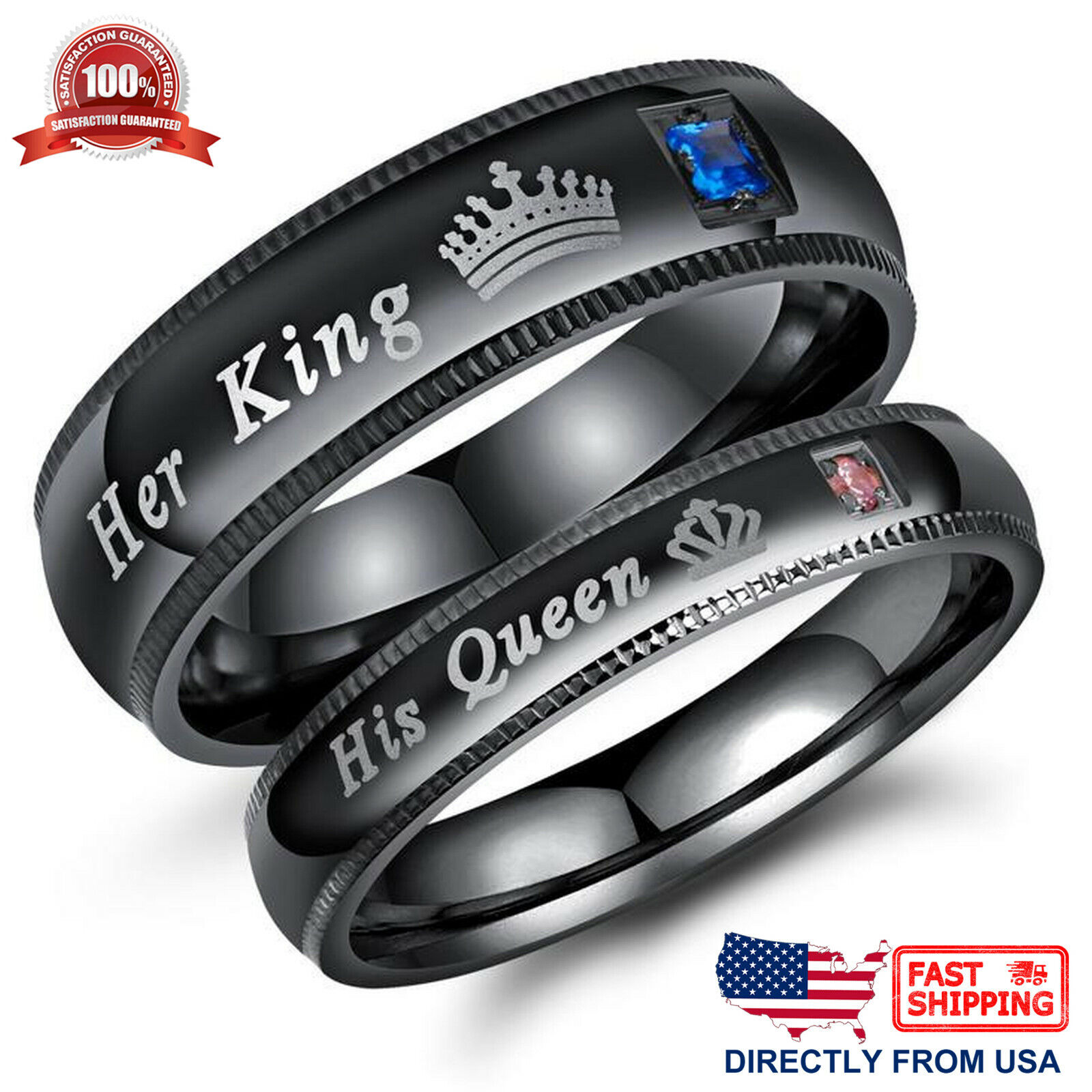 His Queen or Her King Couple's Matching Promise Ring Comfort