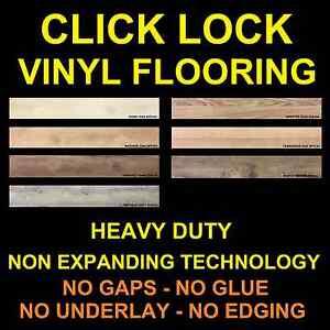 CLICK LOCK Vinyl Flooring planks floor DIY NO floating click glue down laminate