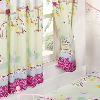 Owls Twit Twoo Flowers 66  X 72  Lined Curtains With Tie Backs New