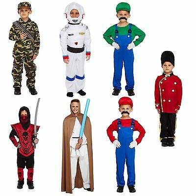 Fancy Dress Up Costume Super Mario Jedi Ninja Spaceman Soldier Army Boys Age 4-9](Mario Boys Costume)
