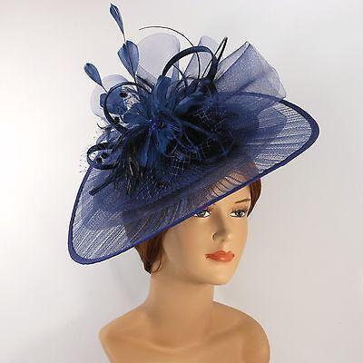 New Church Derby Wedding Pleated Poly Fascinator Dress Hat w Headband 2450 Navy