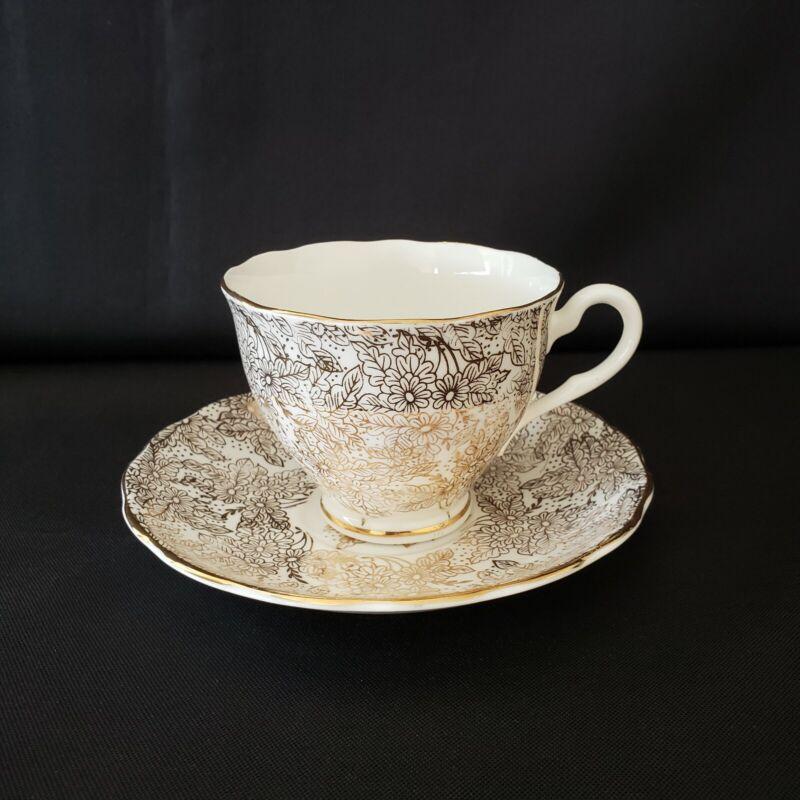 Vintage Colclough Tea Cup & Saucer White Gold Chintz Flowers & Leaves England