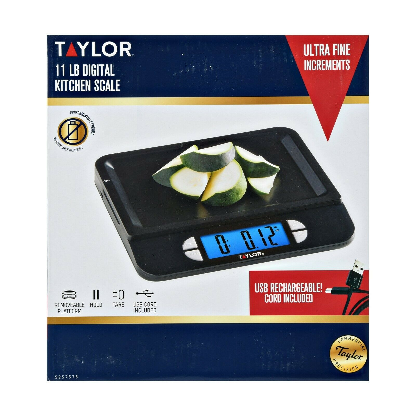 Taylor USB Rechargeable Precision Digital Kitchen Scale, 11l