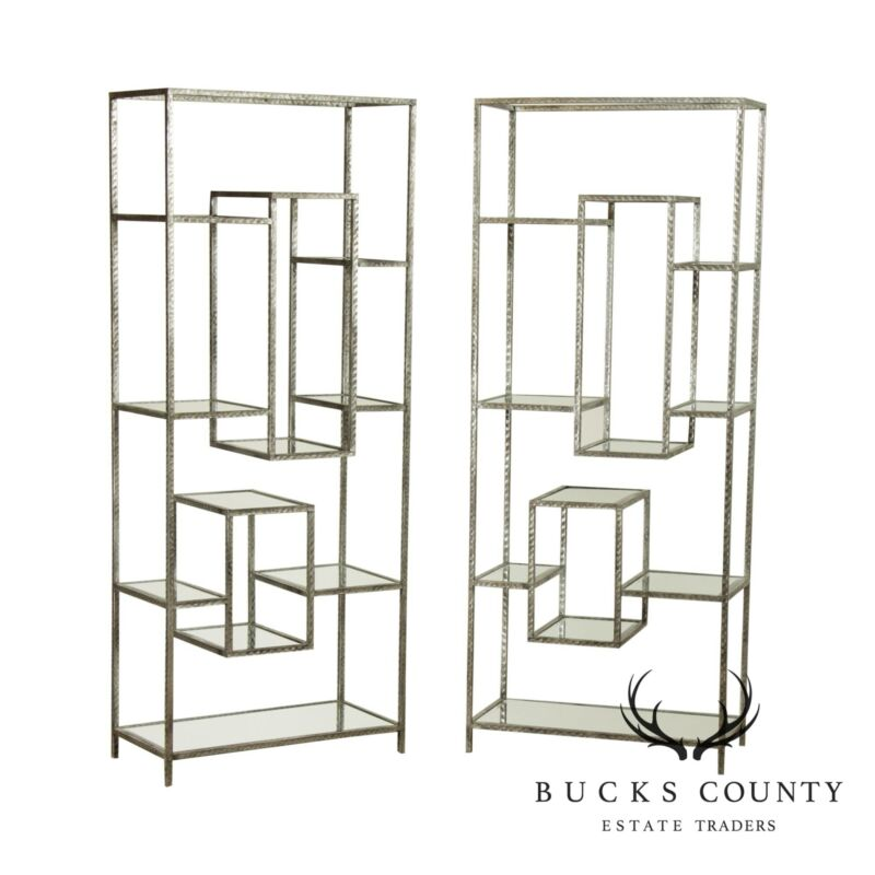 Nakasa Iron and Mirrored Pair Geometric Bookcases, Etageres