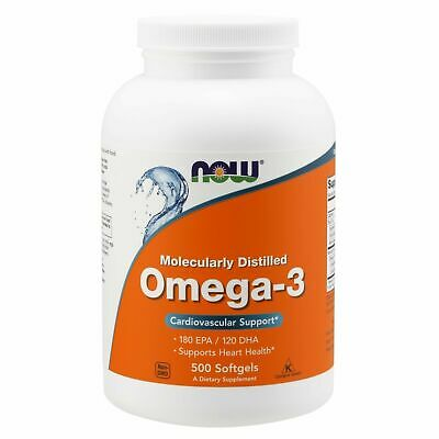 Now Foods Omega 3 Fish Oil 180 EPA/120 DHA 1000 mg, 500 Softgels HEART, BRAIN