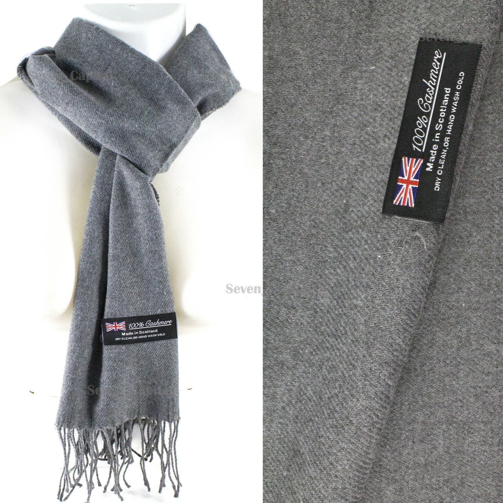 Mens Womens Winter Warm SCOTLAND Made 100% CASHMERE Scarf Scarves Plaid Wool 41. Plain: Space Grey