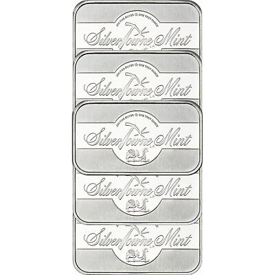 SilverTowne Mint Signature 1 oz .999 Fine Silver Bar LOT of 5
