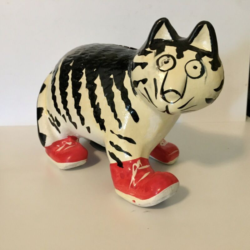 Kilban Cat Bank Vintage Ceramic With Plug Striped Kitten In Red Shoes