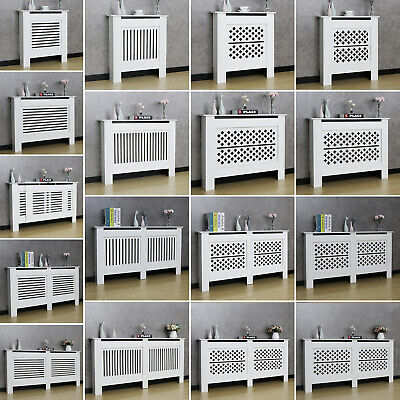 White Radiator Cover Wall Cabinet Wood MDF Grill Shelf Horizontal Slat&Vertical