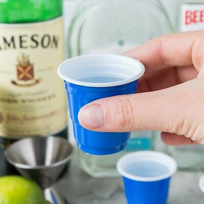 Yard Plastic Drinking Glass (1000 Pack Mini Blue Plastic Shot Glass 2Oz Party Drink Cold Solo Shooter Cup)