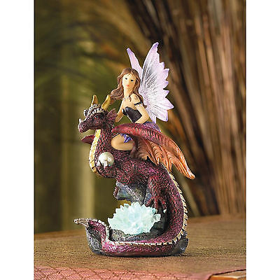 FAIRIES: Dragon Rider Fairy with Color Changing LED Light Statue Figurine NEW