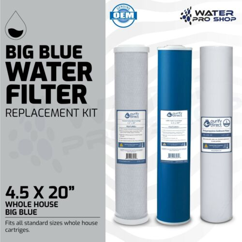 "3 Stage Big Blue Water Filter Replacement Kit, Sediment/UDF/Carbon - 4.5"" x 20"""