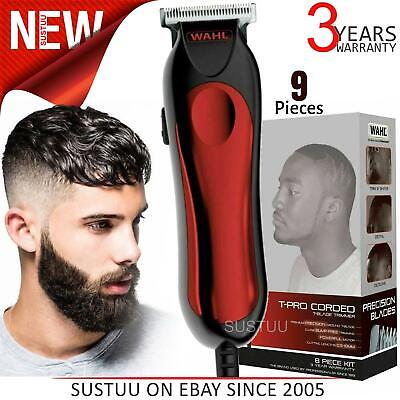 Wahl 9307-5317 T-Pro Corded Men's Hair Trimmer Clipper Kit|9 Piece Kit|Red