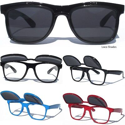 FLIP UP SUNGLASSES Tinted AND Clear lens Retro Design Classic Style Eye Glasses