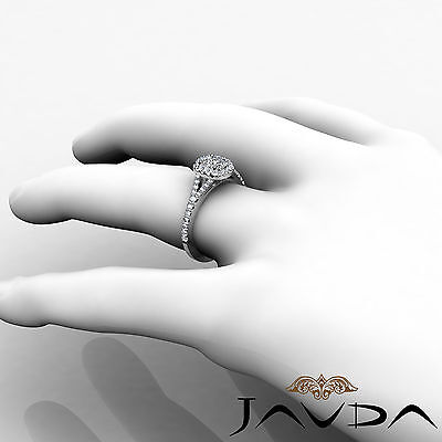 Halo Split Shank French U Pave Cushion Diamond Engagement Ring GIA F VS2 1.21 Ct 5