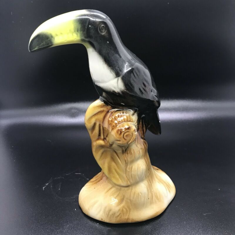 Hand Painted Ceramic Toucan Bird Figurine Art Pottery Sculpture Made in Brazil