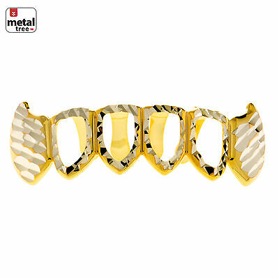 Herren Diamantschliff Grillz Fang Vier Offenes Zifferblatt Vergoldet Zähne (Grillz Gold Diamant Zähne)