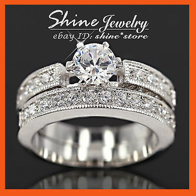 18K WHITE GOLD GF 2CT LAB DIAMOND WEDDING ENGAGEMENT LADY VINTAGE SOLID RING SET (Vintage Wedding Ring White Gold)