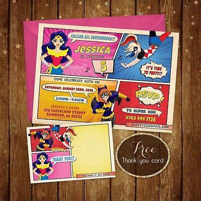 Super Hero Girls Birthday Party, DC birthday girl - Digital File - Printable 5x7
