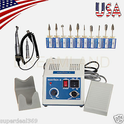 Dental Lab Marathon 35k Rpm Handpiece Electric Micro Motor 10drills Burs Md