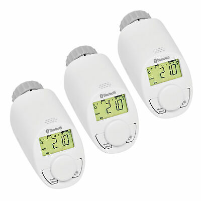 Eqiva Bluetooth Smart Elektronik-Heizkörperthermostat 3er Set, mit App-Steuerung