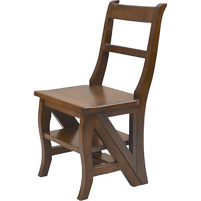 Carolina Chair Wood - Carolina Cottage Franklin Wood Kitchen Dining Folding Chair 3-Step w/Back Ladder