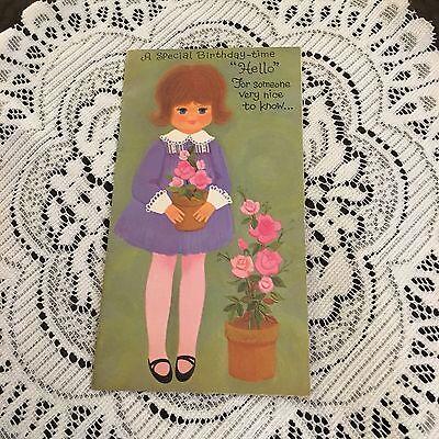 Vintage Greeting Card Cute Girl Birthday Pink Flowers Purple Dress