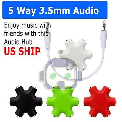 3.5mm 6 Way Input Earphone Headphone Audio Splitter Mix Male Female Port Cable (3.5 Mm Male Port)