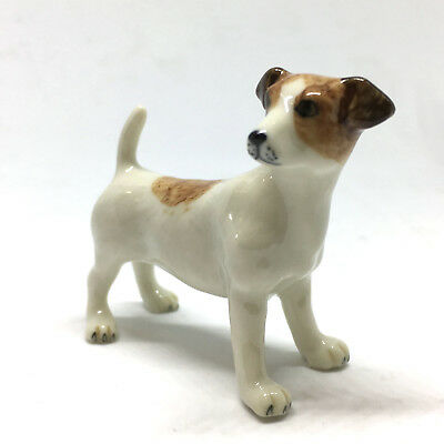 (Ceramic Jack Russell Terrier Figurine Handpainted Miniatures Collectible Animals)