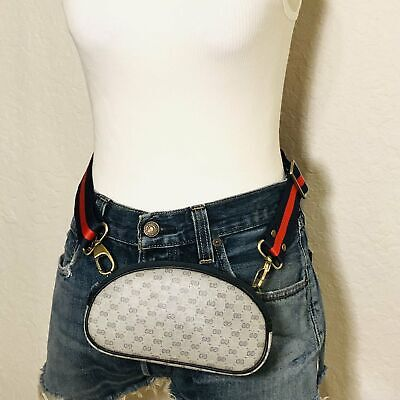 Vintage Navy micro GG Supreme Gucci Mini Crossbody Bum Bag Shoulder Bag