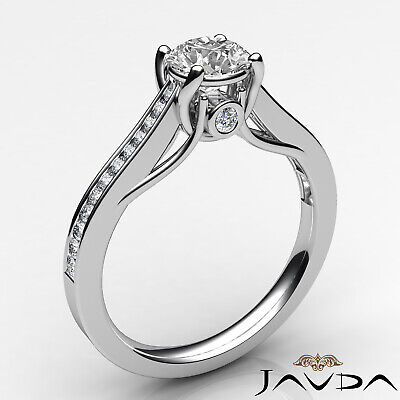 Channel Set Round Shape Diamond Engagement Ring GIA E VS2 18k Yellow Gold 0.8Ct 6