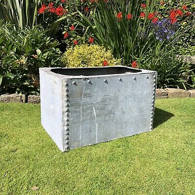 Large Galvanised Water Trough - Riveted Sides - Rustic Garden Feature