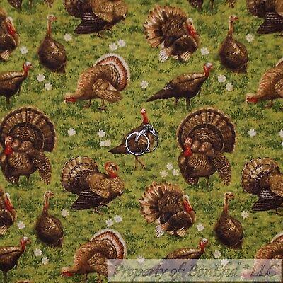 BonEful FABRIC Cotton Quilt Green Grass TURKEY Farm Thanksgiving Leaf USA SCRAP