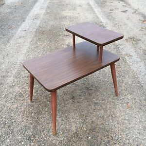 Two tier midcentury side end table vintage faux wood
