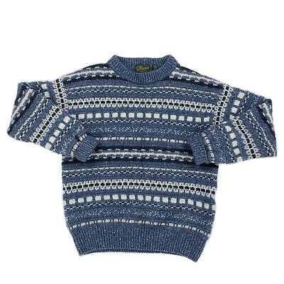Doogan Donegal Blue Wool Silk Blend Sweater Ireland Made Nordic Fair Isle Medium