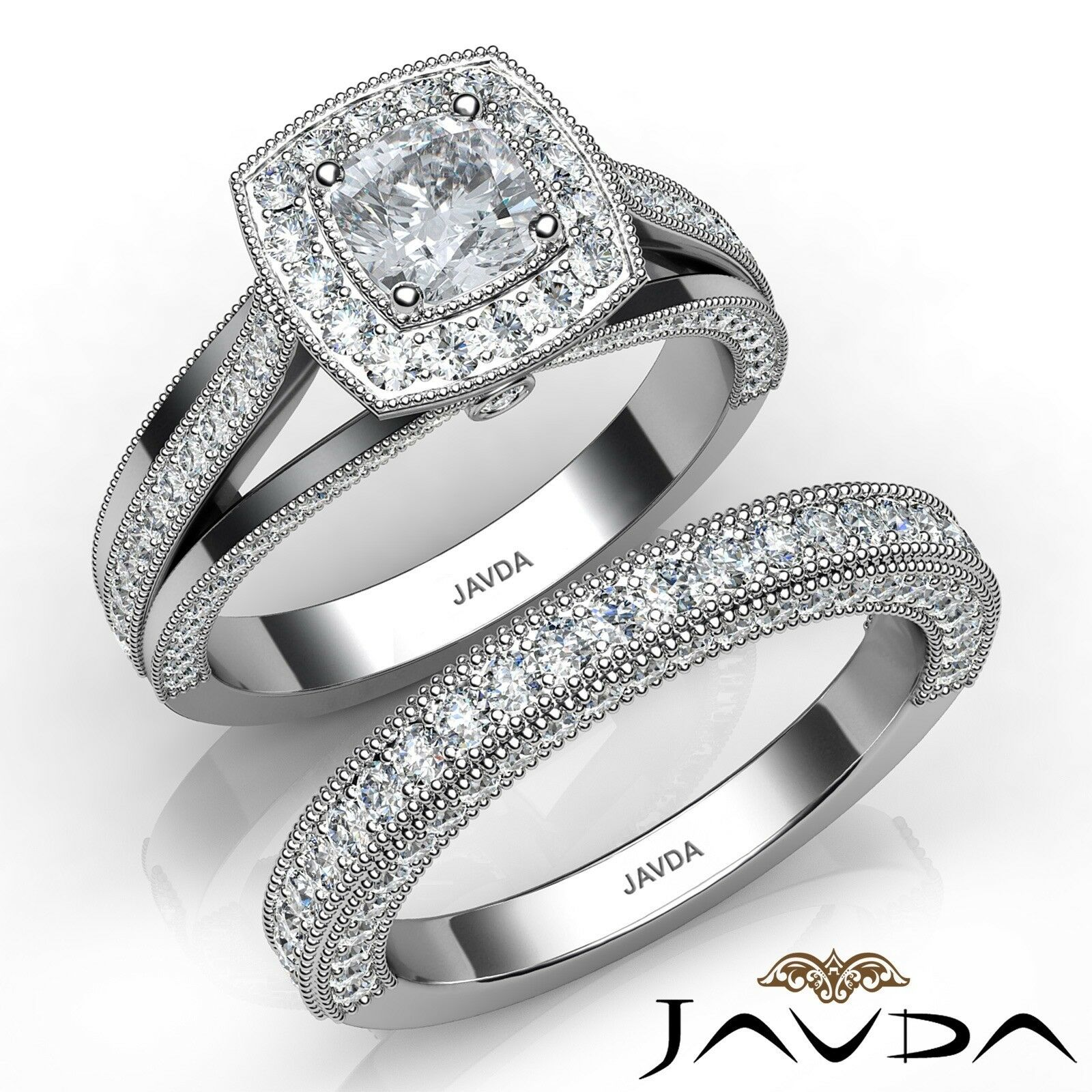 2.9ctw Milgrain Halo Bridal Set Cushion Diamond Engagement Ring GIA E-VS2 Gold
