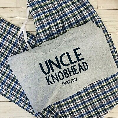 Personalized Mens Pajamas (Personalised Uncle Knobhead Pyjamas New Uncle Gift New baby reveal pregnancy)