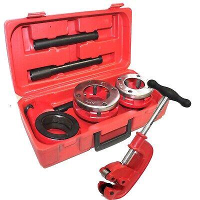 Plumbing Ratchet Type Pipe Threader 1-12 2 Npt Dies W Pipe Cutter 2 New