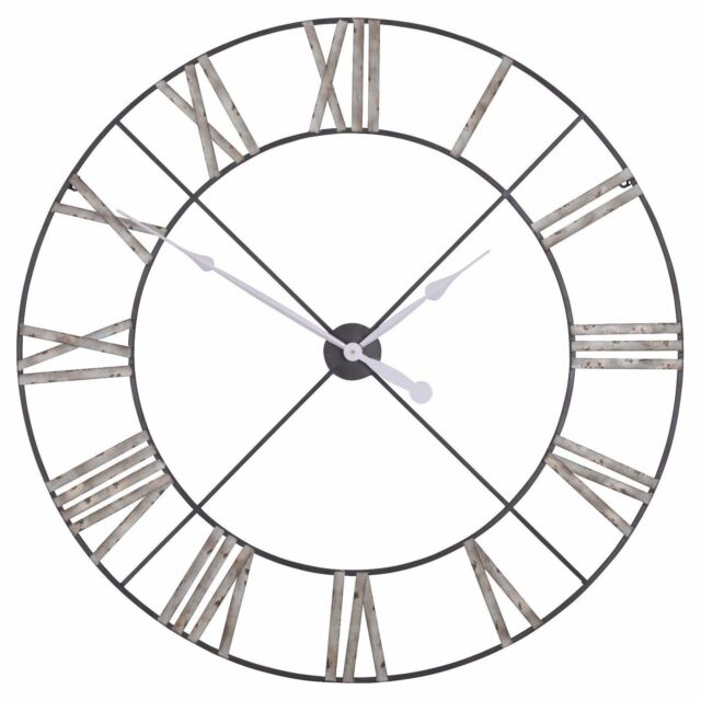 Shabby Chic Extra Large Vintage Metal Wall Clock Skeleton Uk Roman Numerals