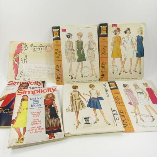 Vintage Simplicity McCalls Pattern Lot CUT & Partially Cut Complete sz 14 Dress