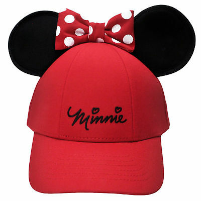 Women's Adult  Minnie Mouse Baseball Hat w/ Ears Red