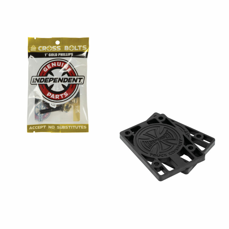 "Independent Skateboard Trucks Hardware Riser Pad Kit - 1"" Black/Gold 1/8"" Risers"