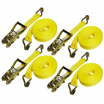 "4 Pc Set 27 FT Heavy Duty 2"" Ratchet Tie Down Strap 10000 Lbs J Hook Cargo Truck"