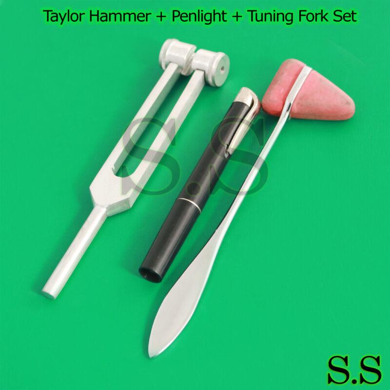 Set of 3 pcs Reflex Percussion Taylor Hammer + Penlight + Tuning Fork C 128 New