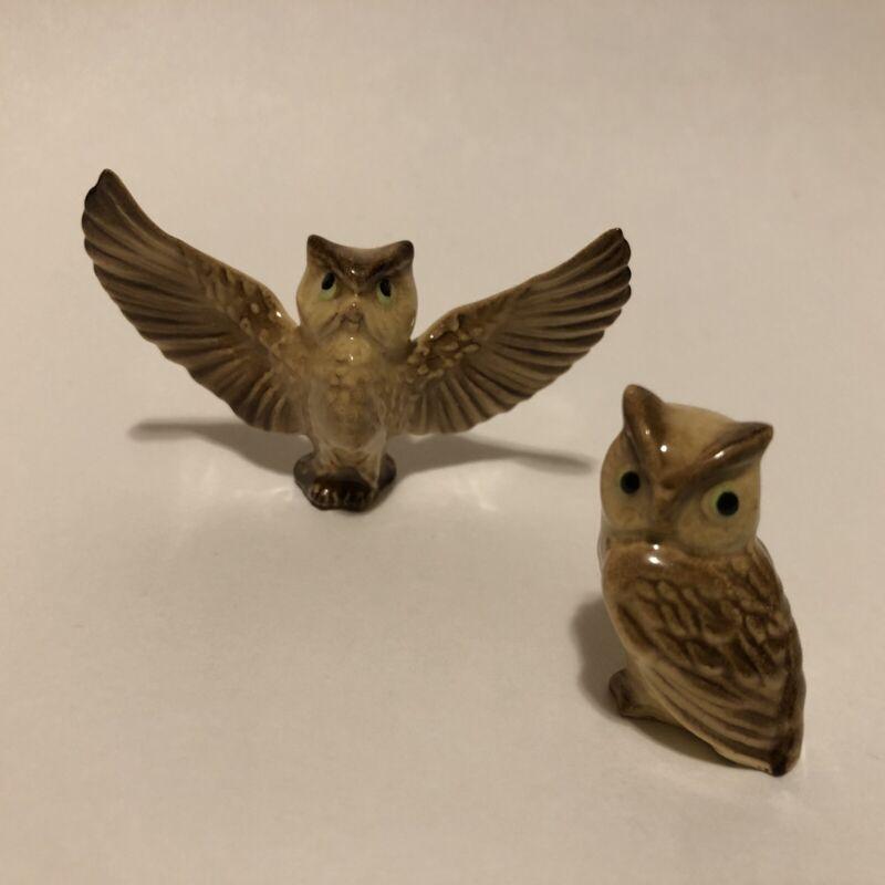 Little Owl Figurines Miniature Porcelain Wings Flying Sitting Tiny Set Of 2