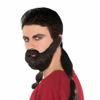 da uomo adulto GLADIATOR GUERRIERO BARBA & coda di cavallo Khal costume cosplay