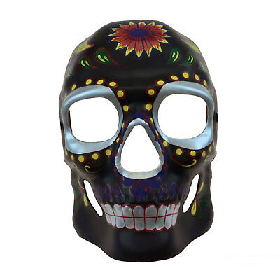 Day of the Dead Muertos Mask Black Bright Floral Sugar Skull Costume Mens Decor