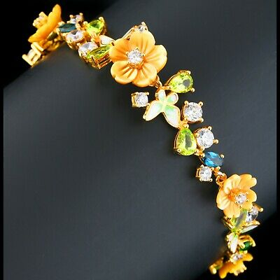 NATURAL MOTHER OF PEARL FLOWERS PERIDOT TOPAZ BRACELET 925 STERLING SILVER SZ  Flowers Mother Of Pearl Bracelet